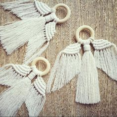 Unique minimal design adds subtle style for the festive season. Works as a wall hanging or tree decoration. Each Angel is hand knotted using unbleached cotton cord and untreate Macrame Wall Hanging Diy, Macrame Art, Macrame Projects, Wall Hanging Christmas Tree, Christmas Tree Decorations, Macrame Design, Macrame Patterns, Tassels, Minimal Design