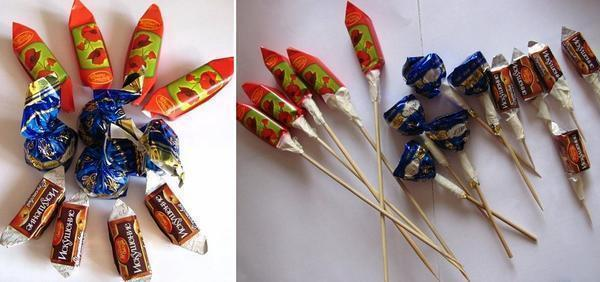 Лучше всего для изготовления топиария из конфет подойдут конфеты с яркой оберткой: красной, синей, зеленой