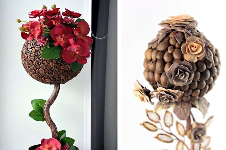 Идеи для топиария из кофе - Дерево с цветами