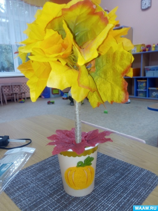 Мастер-класс по изготовлению осеннего топиария для украшения группы детского сада