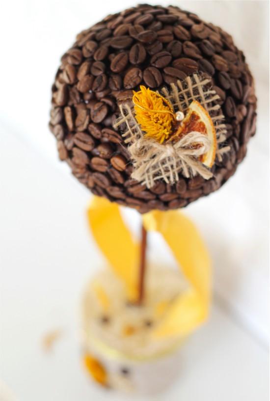 Топиарий из кофе, украшенный долькой апельсина