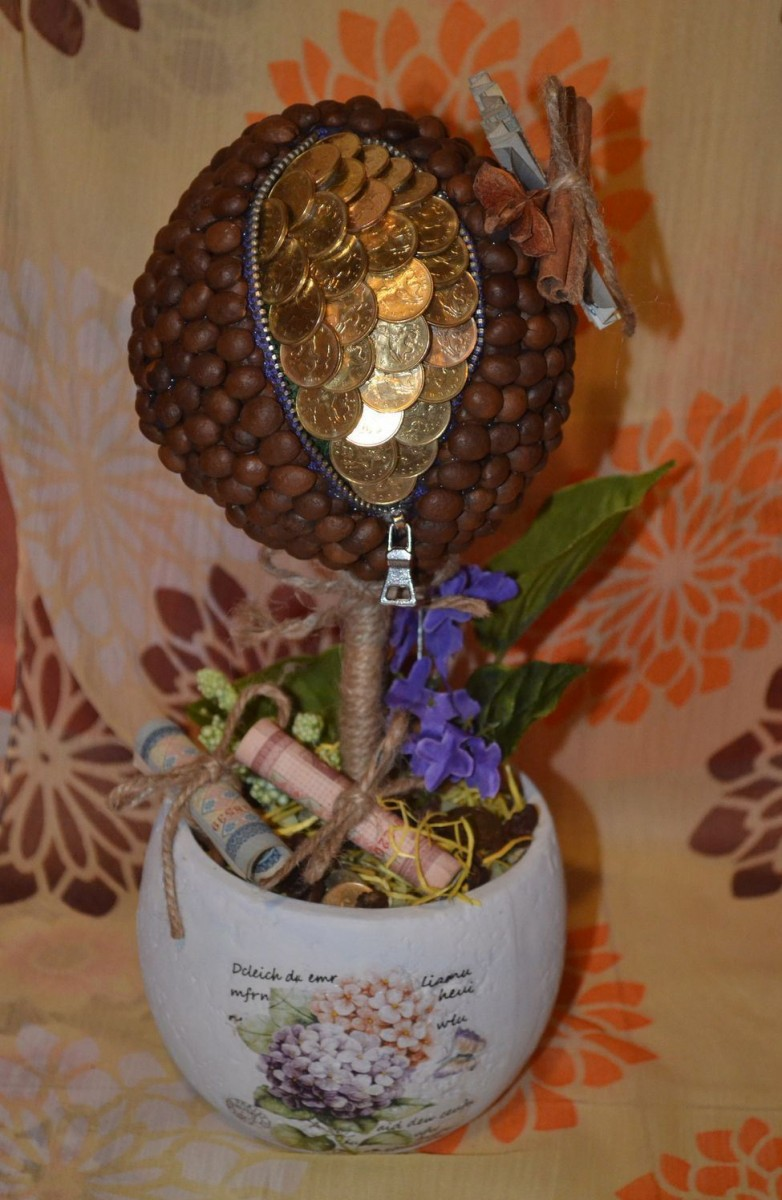 Топиарий из кофе своими руками: пошаговые мастер-классы с фото, из кофейных зерен, с цветами, монетами