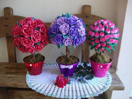 Красивый подарок к любому празднику своими руками: топиарий из атласных лент