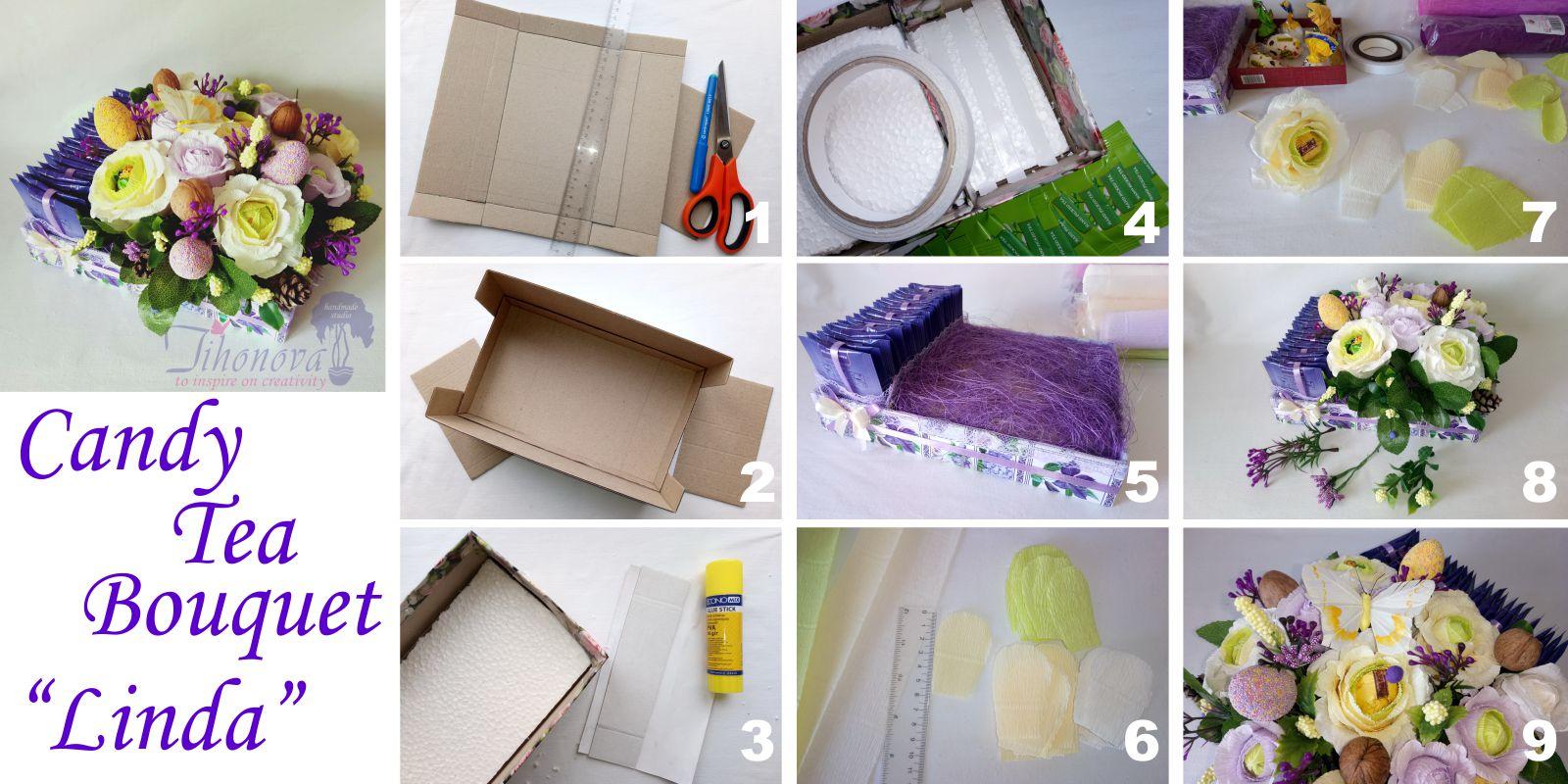 Как сделать букет из чая и конфет своими руками - пошаговое фото пасхальной поделки