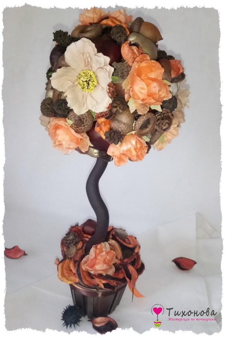 Осенний топиарий своими руками из природного материала с цветами
