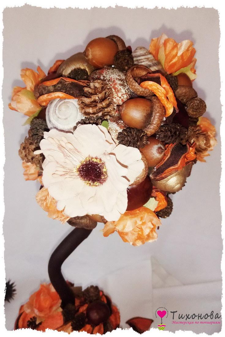 Осенний топиарий для детского сада своими руками из природного материала - каштанов, желудей и шишек