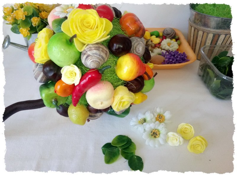Топиарий из фруктов и овощей - пошаговый мастер-класс фото 12