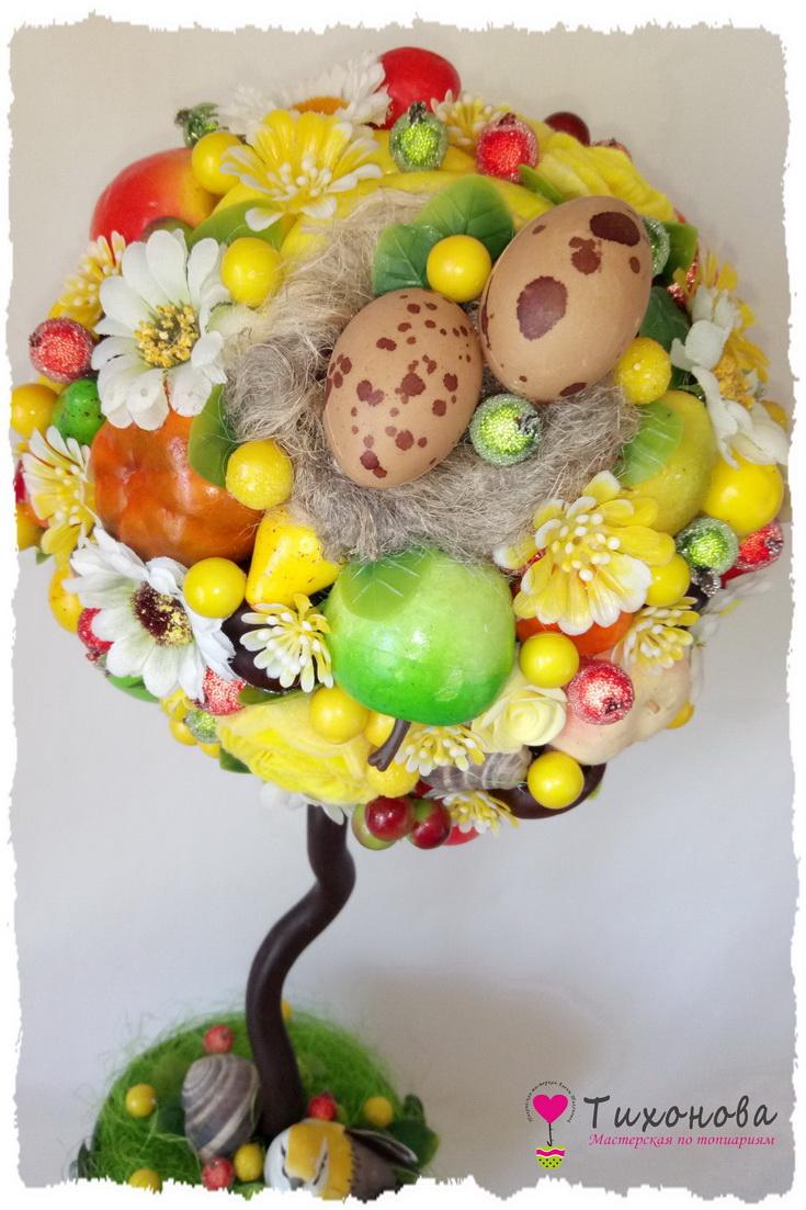 Фруктовый топиарий с овощами и искусственными цветами мастер-класс