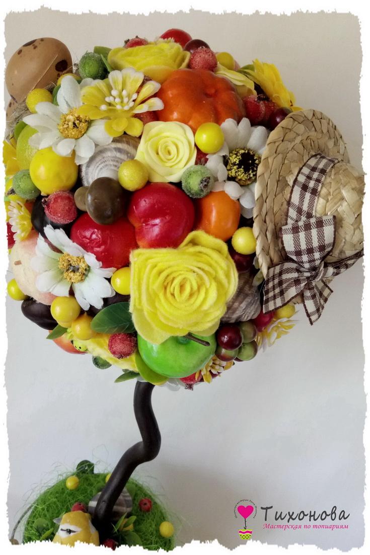 Фруктовое дерево своими руками с соломенной шляпкой на кроне