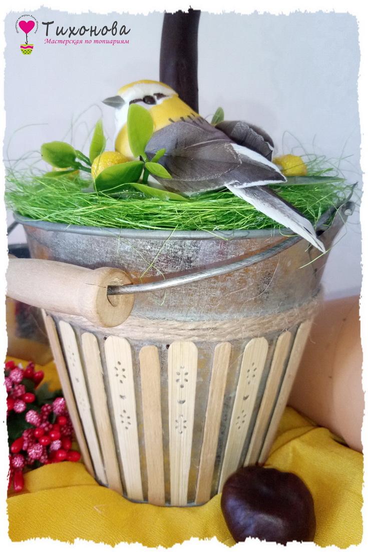 Ведерко для топиария из фруктов и овощей Прогулка в саду